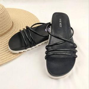 NEW Nine West Croc Strappy Platform Slide Sandals